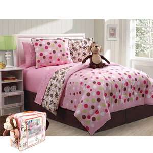 Pink Brown Monkey Girl Bedding Full Bed in a Bag Polka Dot Reversible Comforter, Sheets, Bed Skirt