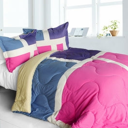 Hot Pink Blue Purple Geometric Block Teen Girl Bedding Twin Full/Queen Comforter Set