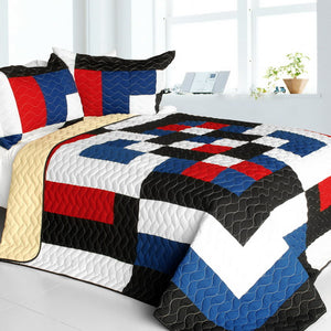 Red White Black Blue Geometric Teen Boy Bedding Full/Queen Modern Quilt Set