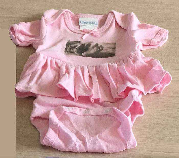 Pink Tutu Skirt Onesies Baby Girl Bodysuilt 'This Little Piggy' Baby Feet 6 Months 12-16 lbs