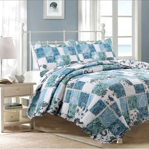Romantic Shabby Chic Blue White Patchwork Girl Bedding Twin Full/Queen King Quilt Set Ruffled Bedspread