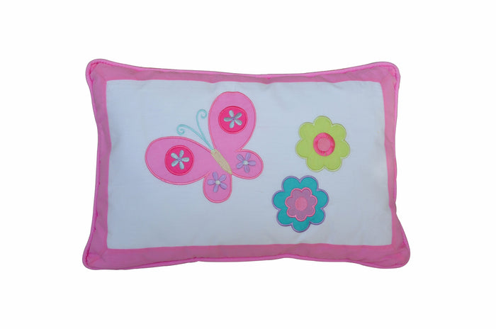 "Pink Butterfly & Flowers Decorative Throw Pillow Cotton 18"" x 12"""