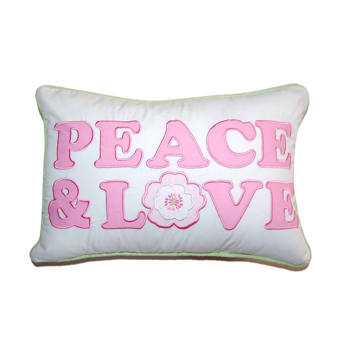 "Peace & Love Pink Decorative Throw Pillow Cotton 12"" x 18"""