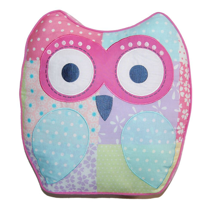 "Owl-Shaped Kids Decorative Throw Pillow Cotton 15"" x 14"""