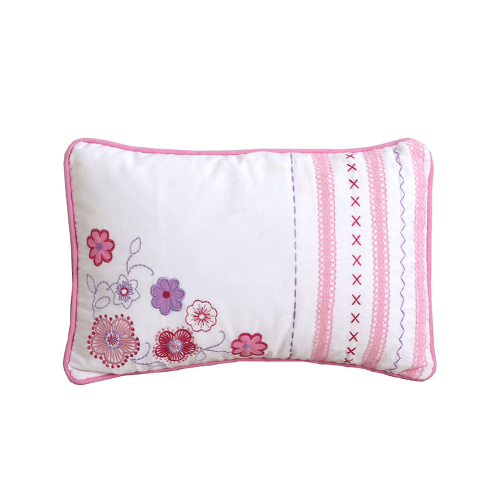 "Embroidered Floral Decorative Throw Pillow Cotton 15"" x 18"""