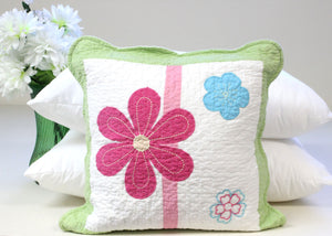 Pink Green Daisy Floral Decorative Throw Pillow