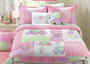 Ellie Elephant Girl Bedding Pink & Green Twin Full/Queen Cotton Quilt Set