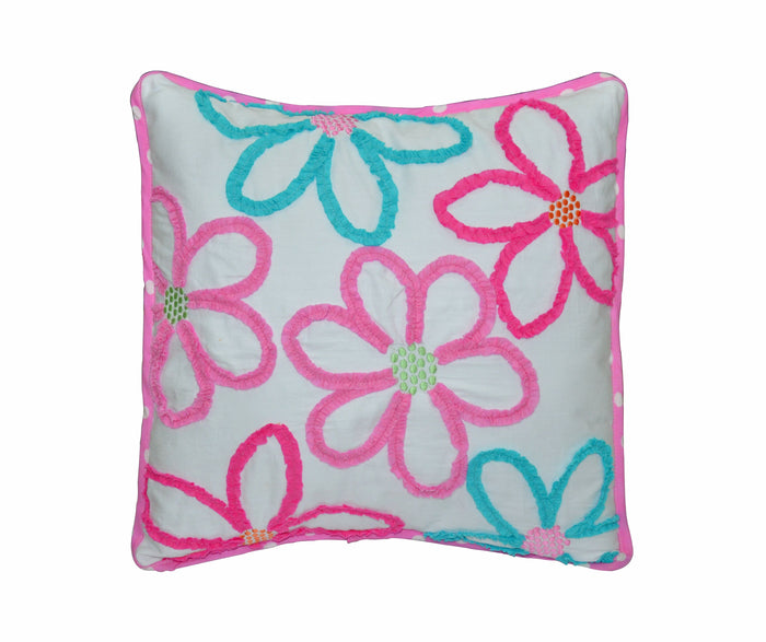 "Pink Blue Ruffled Flowers Decorative Throw Pillow Cotton 18"" x 18"""