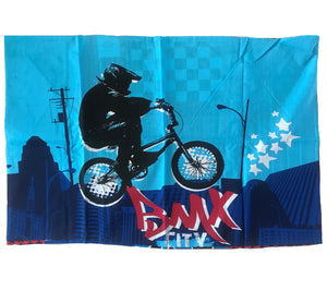 "BMX Extreme Sports Motocross Dirt Bike Pillowcase 19"" x 29"" - Flaw"