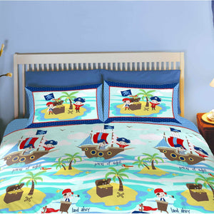 Sea Pirates Bedding Full Duvet Cover / Comforter Cover Set - Seven Seas Treasure