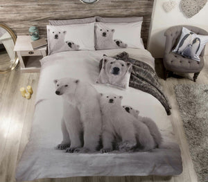 Polar Bear Family Bedding Twin Full Queen Duvet Cover / Comforter Cover Set - Mother & Cubs