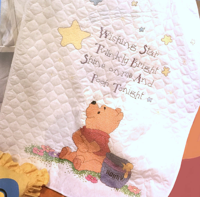 "Winnie The Pooh Counted Cross Stitch 'Wishing Star' Stamped Keepsake Baby Nursery Crib Quilt Kit 34"" x 43"""