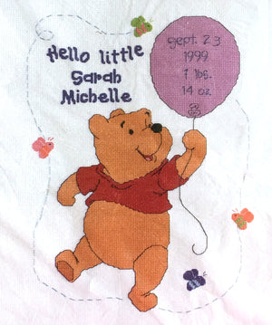 "Winnie The Pooh Hello Little One Counted Cross Stitch Keepsake Baby Birth Announcement Record Kit Sampler 11"" x 14"""