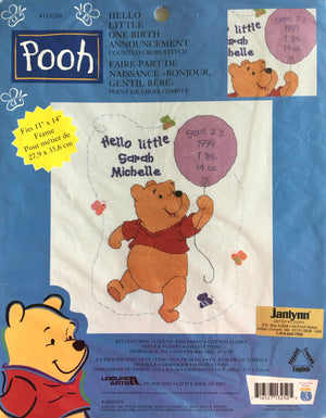 "Disney Winnie The Pooh Hello Little One Counted Cross Stitch Keepsake Baby Birth Announcement Record Kit Sampler 11"" x 14"""