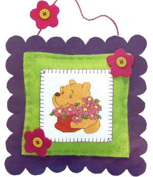 "Winnie The Pooh 'Posy Pillow' Counted Cross Stitch Keepsake Craft Kit 8"" x 8"" Gift Idea"