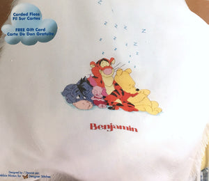 "Disney Winnie The Pooh Counted Cross Stitch 'Time For A Little Snooze' Baby Blanket Afghan Kit 34"" x 44"" Eeyore Piglet Tigger"