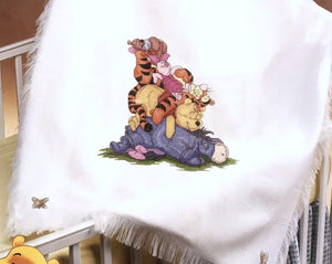 "Disney Winnie The Pooh Counted Cross Stitch Snoozy Day Keepsake Baby Blanket Afghan Kit 34"" x 43 1/2"" Eeyore Tigger Piglet Roo"