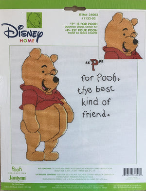 "Winnie The Pooh 'P for Pooh' Counted Cross Stitch Kit 8"" x 10"""