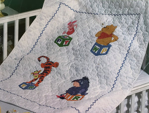 "Winnie The Pooh Counted Cross Stitch Pooh's Block Party Stamped Keepsake Baby Nursery Crib Quilt Kit 34"" x 43"""