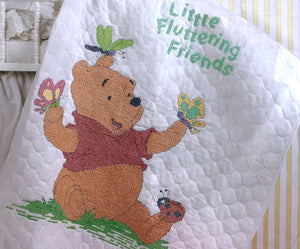 "Winnie The Pooh Counted Cross Stitch Fluttering Friends Stamped Keepsake Baby Nursery Crib Quilt Kit 34"" x 43"""