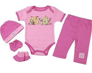 Precious Moments Baby Girl 5-Piece Pink Layette Gift Set 0-3 M - Hat Mittens Booties Onesie Pants
