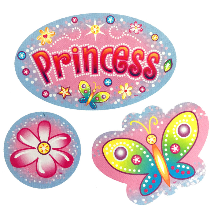 Pink Princess Party or Room Wall Decal Cutouts - Princess, Flower, Butterfly 14""