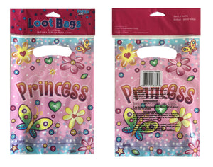 Birthday Princess Pink Plastic Party Loot Gift Bag 8 CT