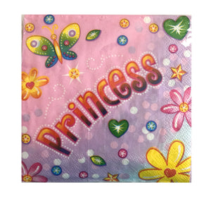 Pink Birthday Princess Small Beverage Napkins 16 CT