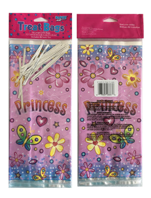 "Birthday Princess Pink Party Cello Treat Bags with Ties 20 CT - 5"" x 11.25"""