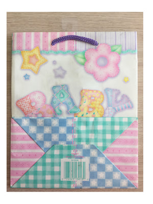 Baby's Quilt Medium Party Gift Bag Baby Shower / New Baby w/ Gift Tag