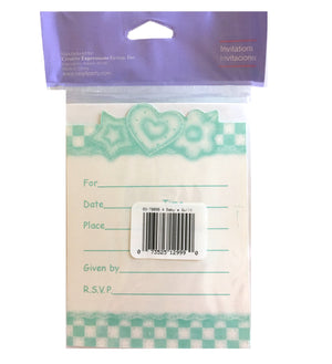 Baby's Quilt Baby Shower Invitation Cards 8 CT or 25 CT - Green Gingham Hearts & Flowers