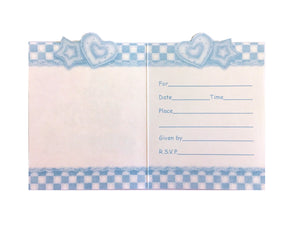 Baby's Quilt Baby Boy Shower Invitation Cards 8 CT - Blue Checkered Hearts & Stars