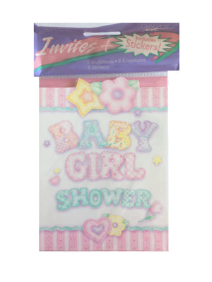 Baby's Quilt Baby Girl Shower Invitation Cards 8 CT - Pink Stripe Hearts & Flowers