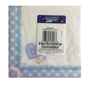Baby's Quilt Baby Boy Luncheon Large Napkins - Back