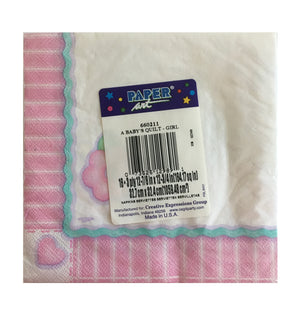 Baby's Quilt Baby Girl Luncheon Large Napkins - Back