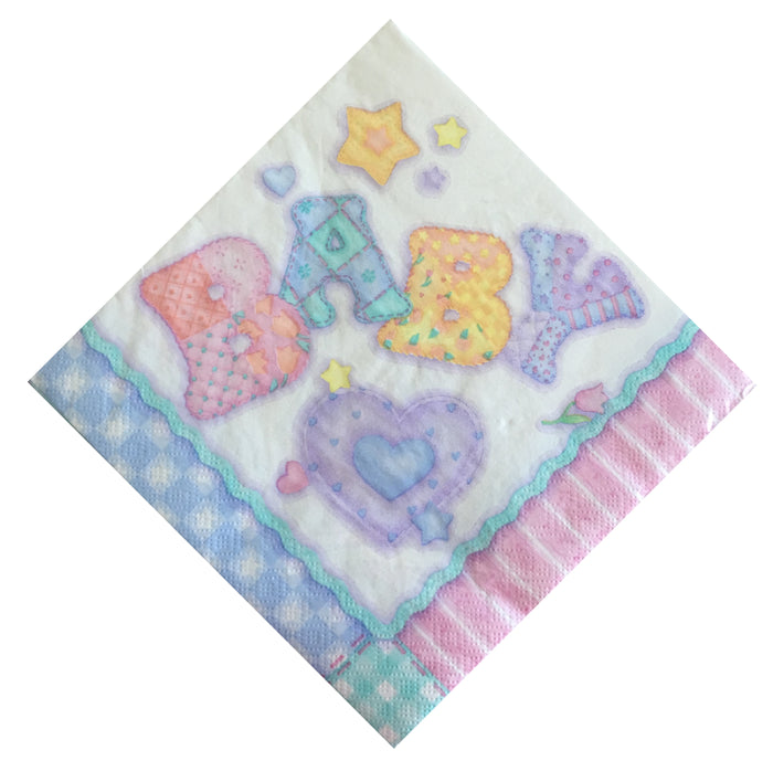 Baby's Quilt Baby Shower Napkins - Hearts Flowers Stars - Dessert or Luncheon Boy/Girl Pink Blue Green
