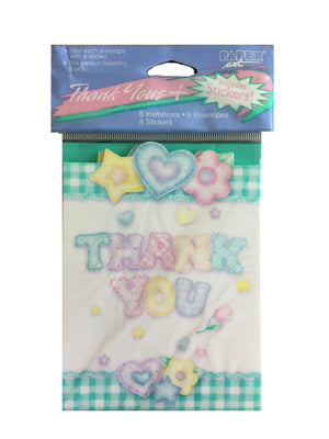 Baby's Quilt Baby Shower Thank You Cards 8 CT - Green Gingham Hearts Flowers & Stars