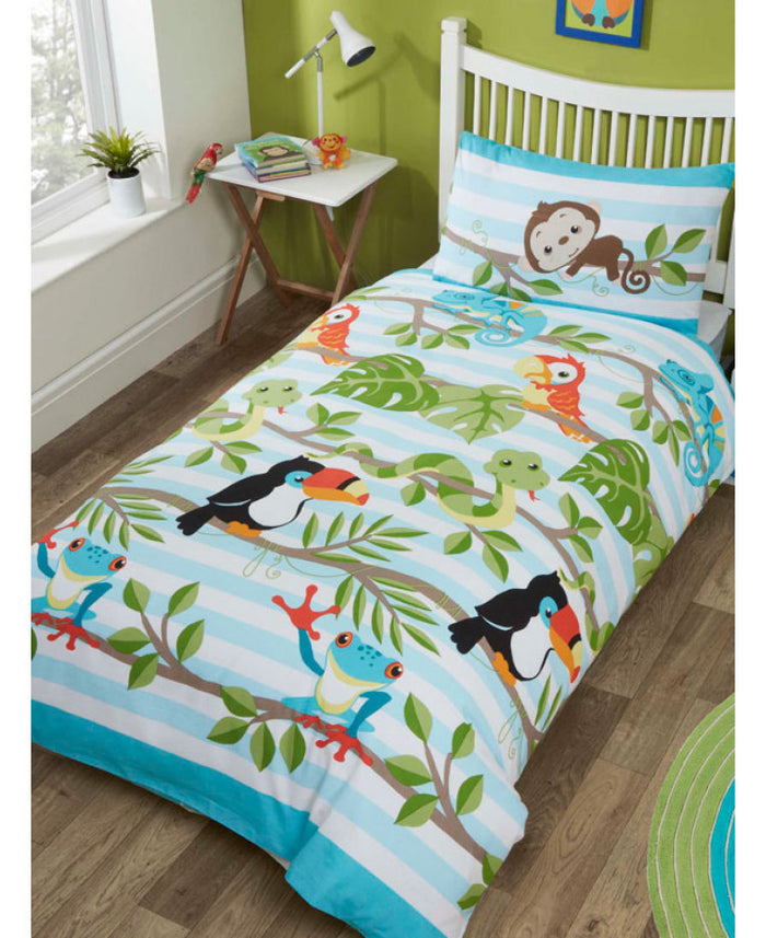 Wild Rain Forest Animals Kids Bedding Toddler or Twin Duvet Comforter / Comforter Cover Set