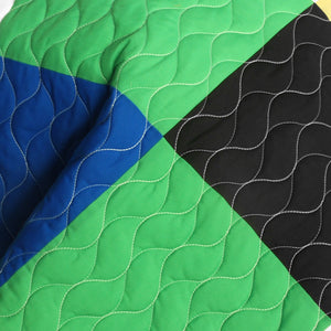 Black White Green Yellow Patchwork Teen Bedding Full/Queen Quilt Set Detail