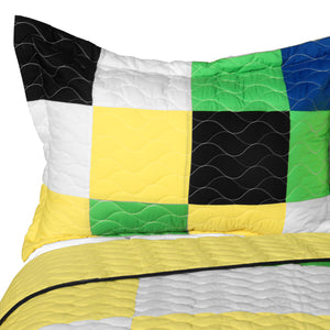 Black White Green Yellow Patchwork Teen Bedding Full/Queen Quilt Set - Pillow Sham