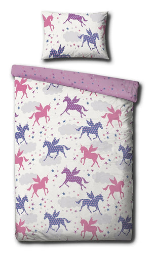 Pink & Purple Silhouettes Unicorn Bedding Twin Full Queen Duvet / Comforter Cover Set
