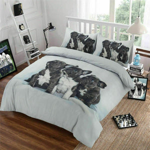 Three Baby Pugs Dog Print Bedding Duvet / Comforter Cover Set Twin Full Queen Photo Print