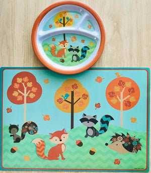 Woodland Animals Fall Kids Child Placemat & Feeding Plate Fox Squirrel Raccoon