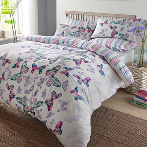 Watercolor Butterfly Girl Full Bedding Pink Blue Lavender Striped Duvet / Comforter Cover Set Reversible