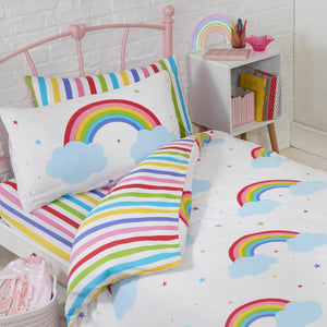 Rainbow Clouds Bedding Duvet / Comforter Cover Set Toddler Full or Curtains