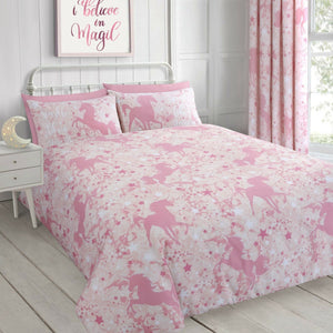 Pink Unicorn & Stars Girl Bedding Glow In The Dark Twin Full Duvet Cover/ Comforter Cover Set or Curtains