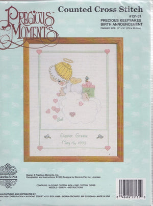 "Precious Moments Counted Cross Stitch ""Precious Keepsakes' Angel Baby Birth Announcement Kit 11"" x 14"""