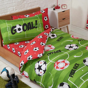 Soccer Balls Green Red Duvet / Comforter Cover Set Toddler Twin, Full or Curtain