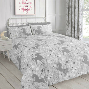 Grey Unicorn & Stars Girl Bedding Glow In The Dark Twin Full Duvet Cover/ Comforter Cover Set or Curtains