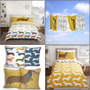Dachshund Sausage Dog Reversible Dog Print Bedding Twin Full Queen Duvet Cover / Comforter Cover Set